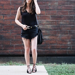 Morgan Schadegg - Abercrombie & Fitch High Waisted Shorts, Saint Laurent Lace Up Flats - Western summer