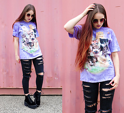 Amelia Breading - The Mountain Cat Print T Shirt, Tijn Round Sunglasses - CRAZY CAT LADY