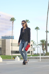 Vanessa Berlin - Elie Tahari Blazer, Bebe Dots Printed Blouse, Express Embroidered Jeans, Calvin Klein Mules, Saint Laurent Clutch, Vogue Sunglasses - CASUAL CHIC