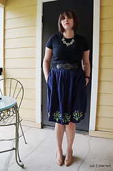 Gina S. - Baublebar Collar Necklace, Ebay Filigree Belt, Modcloth Cacti Skirt, Franco Sarto Tan Wedges - Cacti.