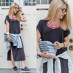 Diana Manolova - American Apparel Denim Clutch, Zara Loose Black Dress, Bershka Necklace, Pimkie Sunglasses, Nike Sneakers, Pimkie Bracelet - Ice Cream
