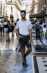 Dominik H. Mueller - Zara Linen Shirt, Zara Brown Business Short, Birkenstock Black - MILAN