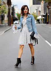 Emily S - Atmos & Here Star Print Dress, Insight Blue Denim Jacket, Lace Up Booties - Star Dress