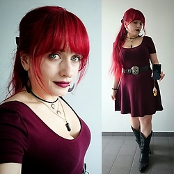 Asu Rocks - Forever 21 Oxblood Skater Dress, Vintage Western Boots - Oxblood
