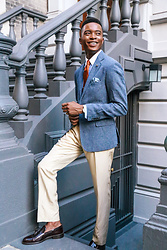 Igee Okafor - Billy Reid Heirloom Collection Trousers, Billy Reid Lexington Jacket, Billy Reid Red Wine Tassel Loafers, Club Monaco Lapel Pin - DRESSING FOR A SUMMER WEDDING: FOR THE PREPPY GUEST