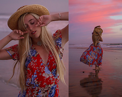 Jordan Rose - Auguste The Label Holiday Muse Maxi Dress, Rumah Sea Glass Choker - // sunset reflection //