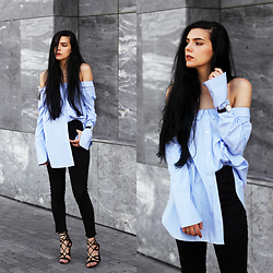 CLAUDIA Holynights - Sheinside Off Shoulder Blue Shirt, Daniel Wellington Dapper 34 Mm Watch - The blue shirt