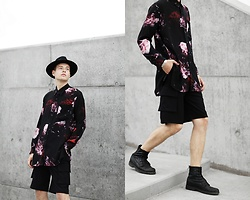 Patrick Pankalla - Ami Floral Shirt, H&M Fedora Hat, Weekday Shorts, Diesel Leather Boots - Concrete/Flowers