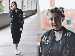Elizabeth Claire - Whowhatwear For Target Floral Bomber Jacket, H&M Black Midi Dress, Adidas Superstars - On the Verge
