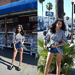 Daphne Blunt - Storets Gingham Blouse, Reformation Denim Shorts, Pearl Sunglasses, Chanel Platform Sandals, Chanel Classic Black Flap Bag - Summer Is NOT Over