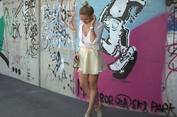 The Blonde Bliss - Chloé Handbag, Geox Mules, More Details/Photos On - Girly skirt & lace bra