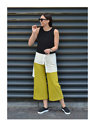 Toma Muznikaitė - Mohito Black Top, Asymmetrical Shirt, Mohito Culottes, Slip Ons - Hey there