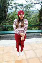 Shahani Lopez - Chasefashion Moroccan Inspired Turban, Chasefashioninc Stripe Crochet Sweater, H&M Red Pants, H&M Semi Lace Shoes - Chase Fashion