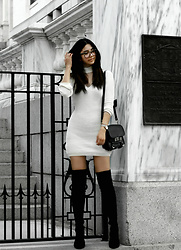 Florencia R - Boohoo Sweater Dress, Proenza Schouler Sachel Bag, Public Desire Over The Knee Boots - The sweater dress