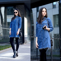 Sofija Lukjanska - Zara Denim Dress, H&M Necklace, Koi Couture Shoes - BACK TO SCHOOL OUTFIT