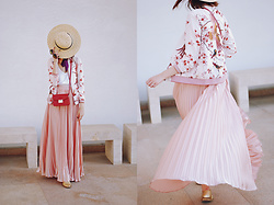 Andreea Birsan - Printed Bomber Jacket, Pink Pleated Maxi Skirt, Red Crossbody Bag, Gold Metallic Oxford Shoes, White Cami, Sunglasses, Straw Hat - Bomber jacket & maxi skirt: how to transition summer items