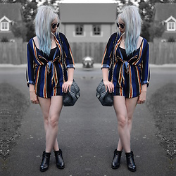 Sammi Jackson - Choies Striped Playsuit, Topshop Alexy Boots - STRIPED TIE UP PLAYSUIT
