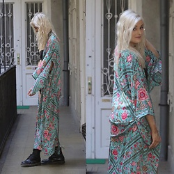 Faye S. - Spell Designs Kimono, Dr. Martens Boots, For Love & Lemons Swimwear - Dont say that I cant do it on my own