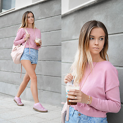Tamara Bellis - Pink Woman Crop Sweater, Topshop High Waist Denim Shorts, Bershka Leather Bag, Simmi Shoes Fashion Sneakers - Need to Go