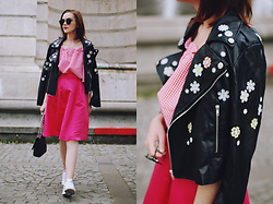 Andreea Birsan - Embroidered Leather Jacket, Gingham Off Shoulder Top, Pink Midi Skirt, Stan Smith Sneakers, Sunglasses, Black Crossbody Bag - Embroidered leather jacket & pink midi skirt II