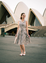Lindsey Puls - Evan Picone Dress, Salt Water Sandals, Happiness Boutique Necklace - In The Land Down Under