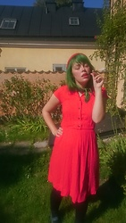 Torunn Splitter - Strawberry Hat, Green Silk Scarf, Red Dress With Tiny Black Dots - Matching my period cramps