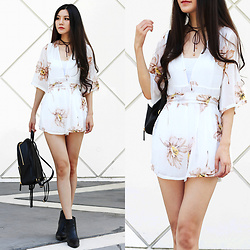 Yuzi Katrina - Sammy Dress Floral Romper, Rebecca Minkoff Leather Backpack - Chiffon Floral Romper