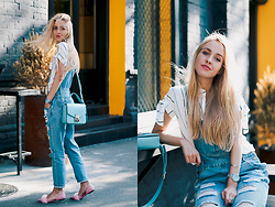 Anna Pogribnyak - Romwe Denim Overall, Romwe Top, Light In The Box Shoes - Denim overall and fur sandals