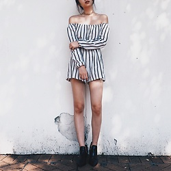 Cherry Mui - Missg Stripes Rumpers, Zara Boots, Stradivarius Gold Choker - Mood for stripes