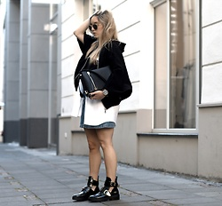 Fashiontwinstinct - Süsskind Cape Jacket, House Of Sunny Layered Shirt, Zara Button Down Skirt - Cape jacket x Cut Out Bikers.