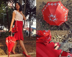 Ka Martins - Red Ruffled Skirt, Red Bag, Red Floral Umbrella, Bubblegum Pink T Shirt, Red Heels - Red Sunset