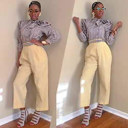 Gala F - Thrift Store Vintage Yellow Trousers, Sam Edelman Gray Heeled Sandals, Grandmother's Closet Vintage Gray Striped Side Bow Blouse, Grandmother's Closet Vintage Belt - .:: Vintage Educator ::.