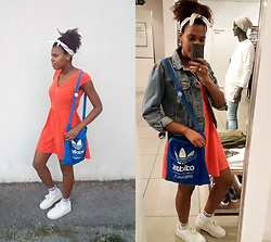 Yara Snow'z - H&M Orange Dress, Adidas Blue Bag, Bershka White Sock, United Colors Of Benetton Denim Jacket - We need contrast in our lives