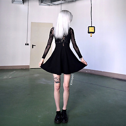 Kimi Peri - Dr. Martens Flats, Motel Moonchild Skater Dress, Miss Overdose Harness - Moonchild
