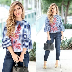 Laura Bustelo -  - BLUE GINGHAM TOP AND YELLOW LACE-UP SHOES