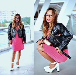 Clair De Lune Wild Rose - Mango Pink Dress, Galstar White Pumps, Mickey Mouse Japan Leather Jacket - Tawny Reservoir