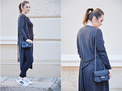 Sispolitan Lach - Bershka Cardigan, Mango Bag, Adidas Sneakers, Zara Jeans, H&M Top - All I see is grey