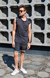Jordi - Acne Studios Frame Sunglasses, H&M Trend Top, Cheap Monday Shorts, Adidas Stan Smith - Berlin patterns