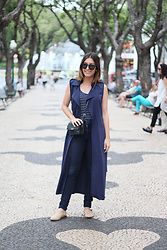 Frederica Ferreira - Stradivarius Vest, Zara Jeans, Zara Babuchas, Zara Bag, Stradivarius Top, H&M Necklace, Pimkie Sunglasses - It's All About Navy