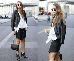 Dominique B. - Dkny Bag, Zara Jacket, Esprit Shoes - Black, white and leather