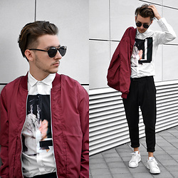 StreetFashion101 - Gearbest Bomber, Gearbest Shirt, H&M Pants, Adidas Stan Smith - Burgundy Bomber