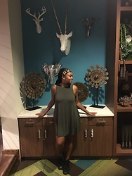 Janai Lourdes - Pacsun Olive Green Sundress, Converse Black High Tops, Claire's Black Choker - Earth Tones