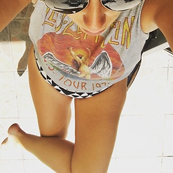 Carmelkarma - Ray Ban Sunglasses, Asos Led Zeppelin Tee, Seafolly Bikini - Kicking it in a kini