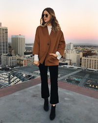 Michelle Madsen - Rosetta Getty Oversized Kimono Jacket, Derek Lam Pintucked Blouse, Frame Denim Le High Straight Leg Cropped Jeans - Fall Rooftop Look