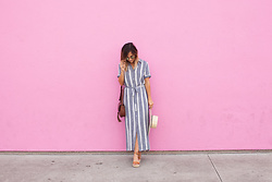 Camille - L'academie Striped Dress, Fossil Bag, Brixton Hat, Soludos Shoes - Summer Striped Maxi