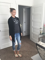 Cindy Batchelor - Glostory Distressed Jeans, Chvity Long Black Cardigan, Amazon Beige Cross Over Sandals - T shirt, Long Black Cardigan, and Distressed Jeans