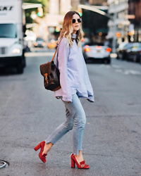 Michelle Madsen - Gucci Suede Pump, Citizens Of Humanity Liya Hi Lo Jeans, Louis Vuitton Monogram Bosphore Backpack - NYFW Casual Look