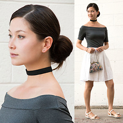Julie R - Gamiss Gray Off Shoulder Top, Gamiss Bow Flat Sandals - Fierce Lamb x Gamiss Collaboration II
