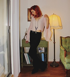 "Michelle Blue - Forever 21 Bell Sleeve Crop Top, Urban Outfitters Crystal And Leather Necklace, Asos Bell Bottoms - ""Don't Write Yourself Off Yet"""