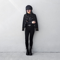 Michelle K - Stradivarius Wool Beret, Mango Double Breasted Military Jacket, Feelsogirl Ornate Cross Necklace, Asos Western Belt, Unif Armada Boots - Breaking The Habit